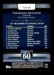 2011 Topps 60 #80 T-60 Thurman Munson  Back Thumbnail