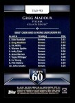 2011 Topps 60 #90 T-60 Greg Maddux  Back Thumbnail