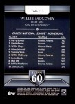 2011 Topps 60 #113 T-60 Willie McCovey  Back Thumbnail