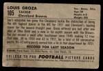 1952 Bowman Small #105  Lou Groza  Back Thumbnail