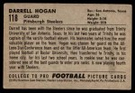 1952 Bowman Small #118  Darrell Hogan  Back Thumbnail