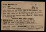 1952 Bowman Small #21  Bill Howton  Back Thumbnail
