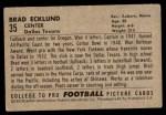 1952 Bowman Small #35  Brad Whitie Ecklund  Back Thumbnail