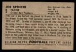 1952 Bowman Small #9  Joe Spencer  Back Thumbnail