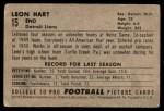 1952 Bowman Small #15  Leon Hart  Back Thumbnail