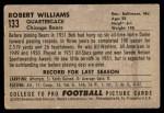 1952 Bowman Small #133  Robert Williams  Back Thumbnail