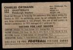 1952 Bowman Small #132  Chuck Ortmann  Back Thumbnail