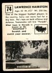 1951 Topps Magic #74  Lawrence Hairston  Back Thumbnail