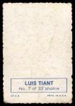 1969 Topps Deckle Edge #7  Luis Tiant     Back Thumbnail