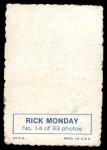 1969 Topps Deckle Edge #14  Rick Monday  Back Thumbnail