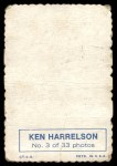 1969 Topps Deckle Edge #3  Ken Harrelson    Back Thumbnail