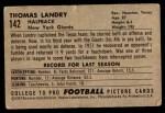 1952 Bowman Small #142  Tom Landry  Back Thumbnail