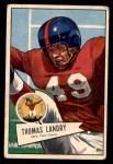 1952 Bowman Small #142  Tom Landry  Front Thumbnail