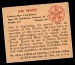 1950 Bowman #140  Jim White  Back Thumbnail