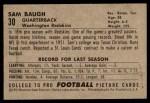 1952 Bowman Small #30  Sammy Baugh  Back Thumbnail