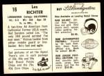1959 Rams Bell Brand #16  Les Richter  Back Thumbnail