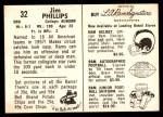 1959 Rams Bell Brand #32  Jim Phillips  Back Thumbnail