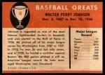 1961 Fleer #49  Walter Johnson  Back Thumbnail