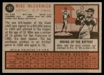 1962 Topps #107  Mike McCormick  Back Thumbnail