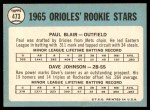 1965 Topps #473   -  Paul Blair / Davey Johnson Orioles Rookies Back Thumbnail