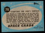 1957 Topps Space Cards #78   Studying the Sun's Surface  Back Thumbnail