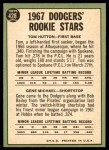 1967 Topps #428   -  Gene Michael / Tom Hutton Dodgers Rookies Back Thumbnail