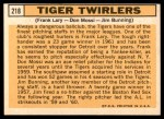 1963 Topps #218   -  Jim Bunning / Frank Lary / Don Mossi Tiger Twirlers Back Thumbnail