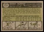 1961 Topps #214  Danny Murphy  Back Thumbnail