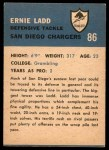 1962 Fleer #86  Ernie Ladd  Back Thumbnail