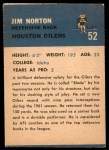 1962 Fleer #52  Jim Norton  Back Thumbnail