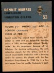 1962 Fleer #53  Dennit Morris  Back Thumbnail