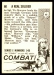 1964 Donruss Combat #60   Real Soldier Back Thumbnail