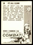 1964 Donruss Combat #38   It's All Clear! Back Thumbnail