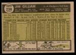 1961 Topps #238  Jim Gilliam  Back Thumbnail