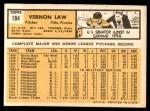 1963 Topps #184  Vern Law  Back Thumbnail