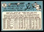 1965 Topps #193  Gaylord Perry  Back Thumbnail