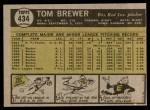 1961 Topps #434  Tom Brewer  Back Thumbnail