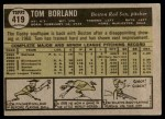 1961 Topps #419  Tom Borland  Back Thumbnail