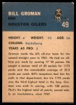 1962 Fleer #49  Bill Groman  Back Thumbnail