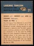 1962 Fleer #21  Laverne Torczon  Back Thumbnail