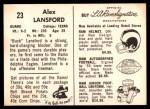 1959 Rams Bell Brand #23  Buck Lansford  Back Thumbnail