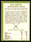 1963 Fleer #15  Dick Howser  Back Thumbnail