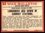 1965 Philadelphia War Bulletin #7   London Blitz Back Thumbnail