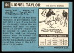 1964 Topps #64  Lionel Taylor  Back Thumbnail