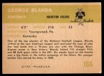 1961 Fleer #166  George Blanda  Back Thumbnail