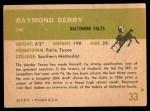 1961 Fleer #33  Raymond Berry  Back Thumbnail