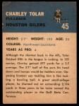 1962 Fleer #45  Charles Tolar  Back Thumbnail