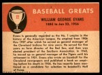 1961 Fleer #22  Billy Evans  Back Thumbnail