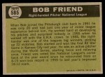 1961 Topps #585   -  Bob Friend All-Star Back Thumbnail