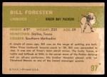 1961 Fleer #97  Bill Forester  Back Thumbnail